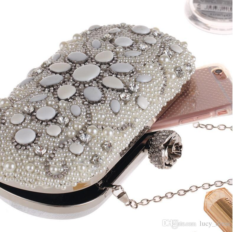 Жемчужная маленькая сумка набор бриллиантового ужина Party Bag европейская и американская мода цепь свадебные ручные сумки