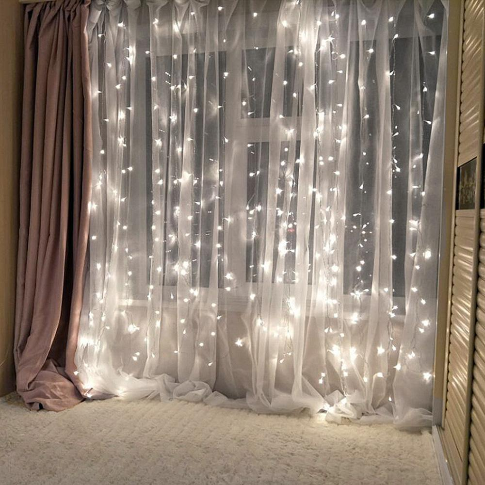 4x3m 300 Led Curtain Icicle String Lights Christmas Fairy