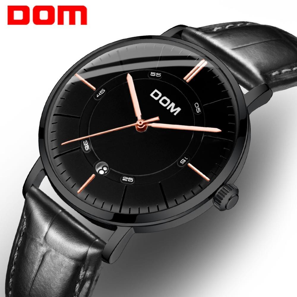 6861084e8ab Compre DOM Relógio Automático De Ouro Mãos Vestido Preto À Moda 50 M À  Prova D  Água Relógios Calendário Esqueleto Mecânico Assista Montre Homme M  8106 De ...