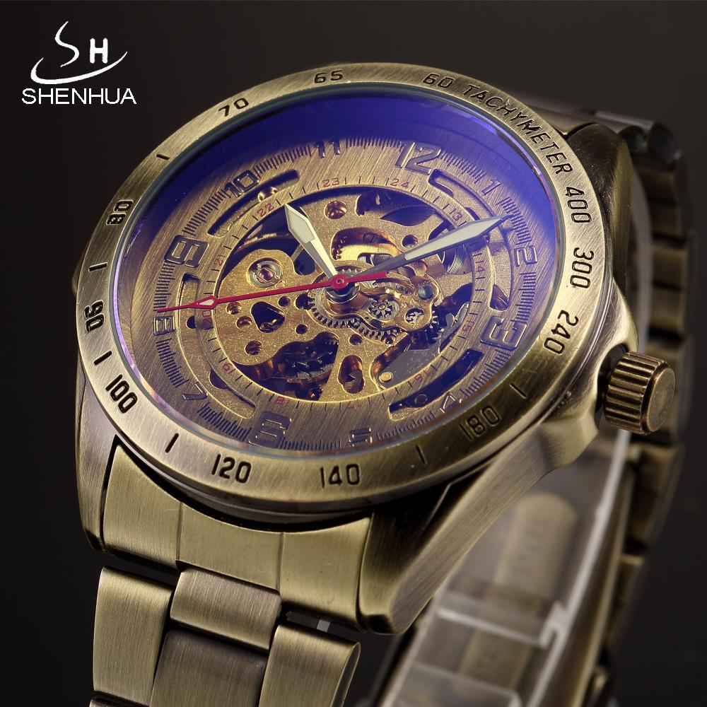 457516d2b2d Compre SHENHUA Vintage Bronze Relógio Mecânico De Metal Dos Homens Esqueleto  Automático Transparente Relógios De Pulso Luminous Hands Masculino Relógio  De ...