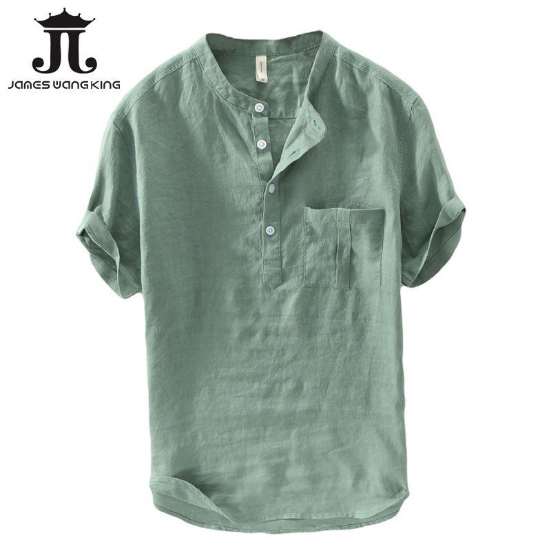 Acquista Camicie Di Lino Moda Uomo Estate Manica Corta In Lino Solido Top  Uomo Tasca Verde Confortevole Morbido Camicie i HS 744 A  36.5 Dal  Clothfirst ... dc989d1e6dd