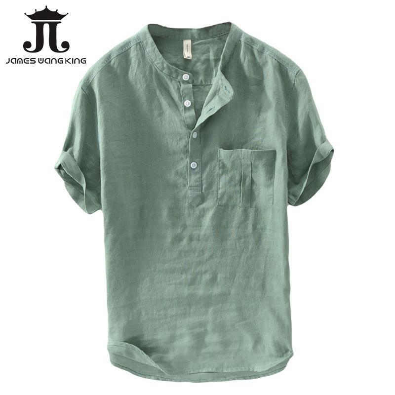 dfb02da711 Compre Camisas De Lino De La Manera De Los Hombres De Verano De Manga Corta  De Lino Sólido Tapas Del Hombre Del Bolsillo Del Bolsillo Camisas Suaves  Cómodas ...