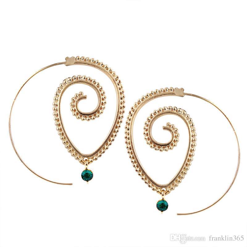 Fashion Earrings for Women Gold Silver Color Spiral Type Chandelier Earrings Hyperbole Gear Shaped Dangle Earrings Jewelry