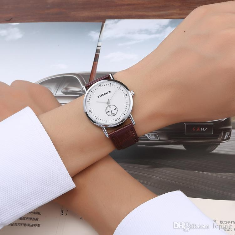 En Ünlü Marka KINGNUOS Adam Lüks İzle hakiki deri kol saati Kadın Elbise saatler Kuvars Saat Çelik severler 'hediye ile izle