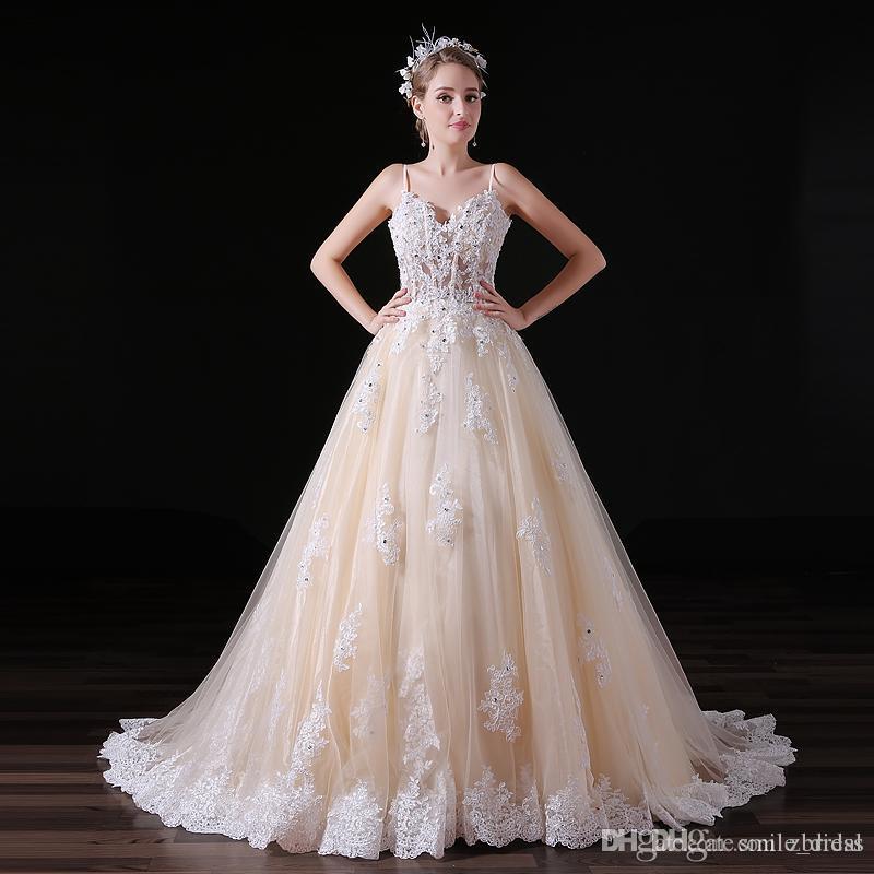 compre fotos reales de champagne vestidos de novia correas de