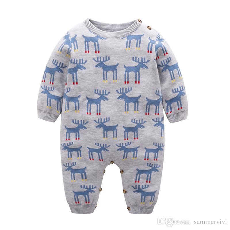 9c59a4caf Infant Kids Rompes Boys Girls Cute Reindeer Long Sleeve Jumpsuits ...