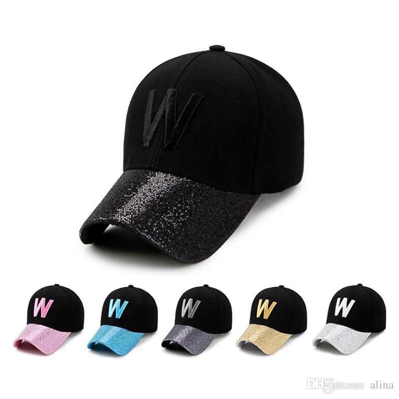 f9f3e0291aa Hot 6 colros W Shining Letters Baseball Cap Man Cap Women Fitted Hat Sun Hat  Wholesale Luxury Designer Autumn   Winter Sun Visors