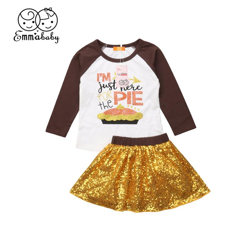 c728b72299e46 2018 Baby Girls Clothes Set Thanksgiving Outfit 2Pcs Toddler Kids Autumn  Long Sleeve T-Shirt Top Sequins Skirt Party Clothing