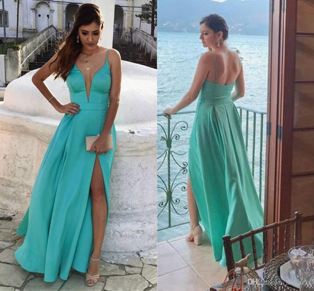 b7a782586537 Mint Green Chiffon Deep V Neck Sexy Split Long Prom Dresses Spaghetti Straps  Floor Length Backless Plus Size Evening Dresses Party Dress Extravagant Prom  ...