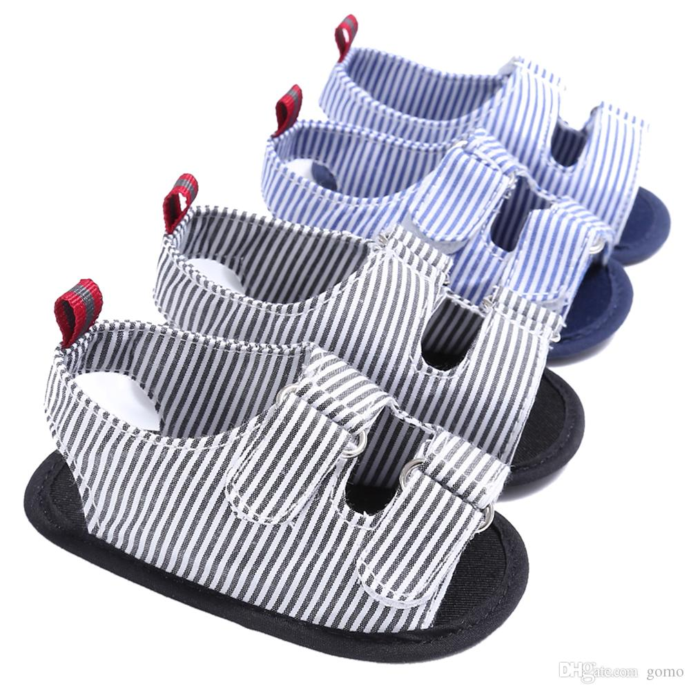 Baby Summer Shoes Toddler Kids Canvas Soft Sole Sandals Newborn Infant Striped Sandals for 0-18M