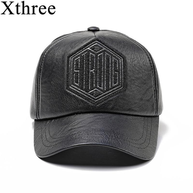 657a5d460f52 Xthree hombres de invierno de imitación de cuero gorra de béisbol snap back  hat para hombre casual Baseball Cap Dad Hat
