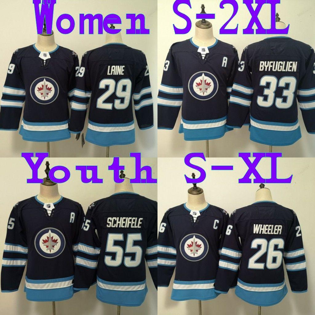 8e9f6d49a1b 2019 Winnipeg Jets Jersey 26 Jack Roslovic 29 Patrik Laine 33 Dustin  Byfuglien 55 Mark Scheifele Womens Youth Hockey Jerseys From B2bcn