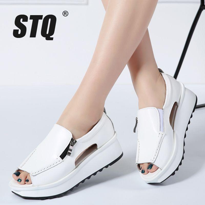 d422eb02b7962 STQ 2018 Summer Women Sandals Wedges Sandals Ladies Open Toe Round Toe  Zipper Black Silver White Platform Sandals Shoes 8332 Sandal Shoes Platform  Sandals ...