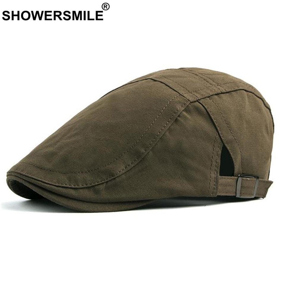 4af73a07418ab 2019 SHOWERSMILE Army Green Berets For Men Cotton Classic Duckbill Ivy Caps  Women Adjustable British Vintage Solid Flat Cap And Hats From Fotiaoqia