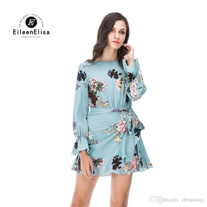 752678017fe8 High Quality Womens Summer Floral Blue Ruffle Dress Female Long Lantern  Sleeve Mini Dresses Chiffon Crew Neck Sexy Dresses Dress Online Shirt  Dresses From ...