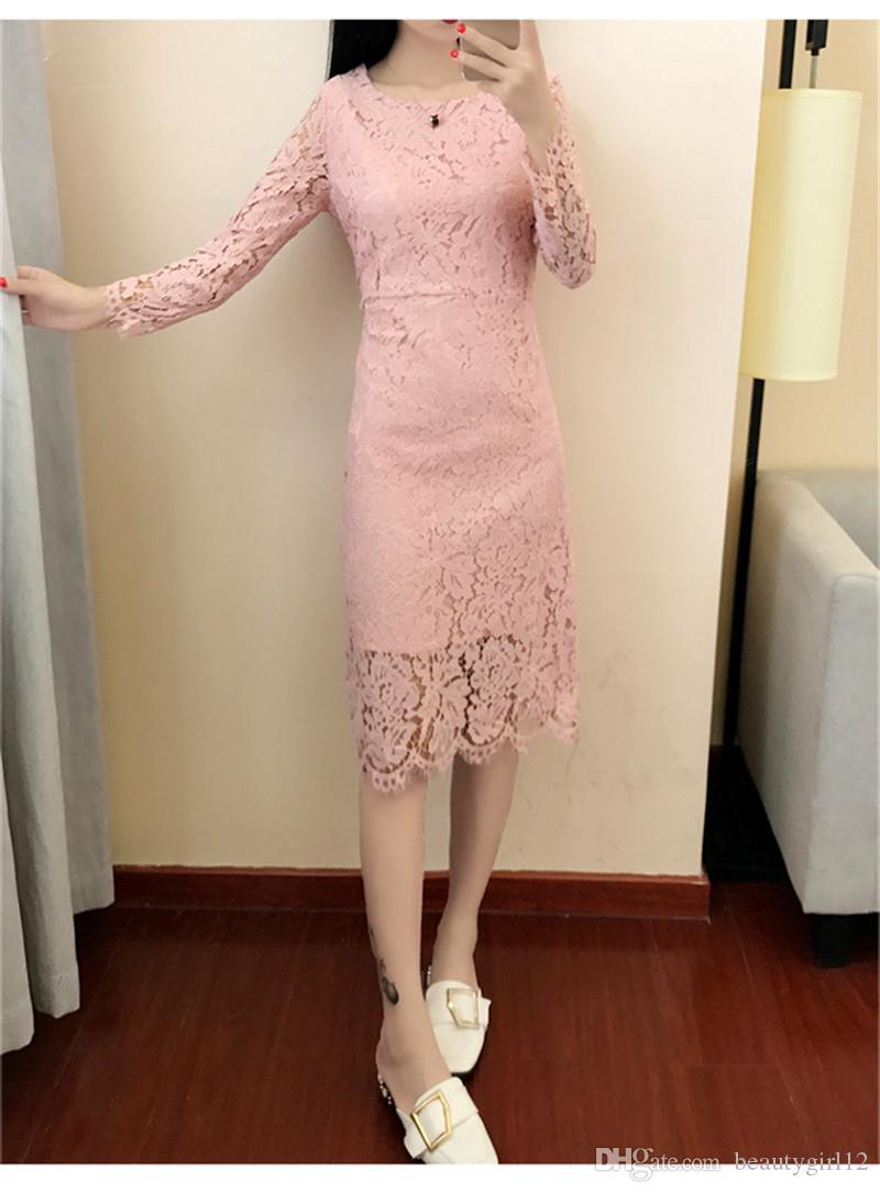 Women Elegant Wedding Party Sexy Night Club Dresses 2018 New O Neck Long Sleeve Sheath High Quality