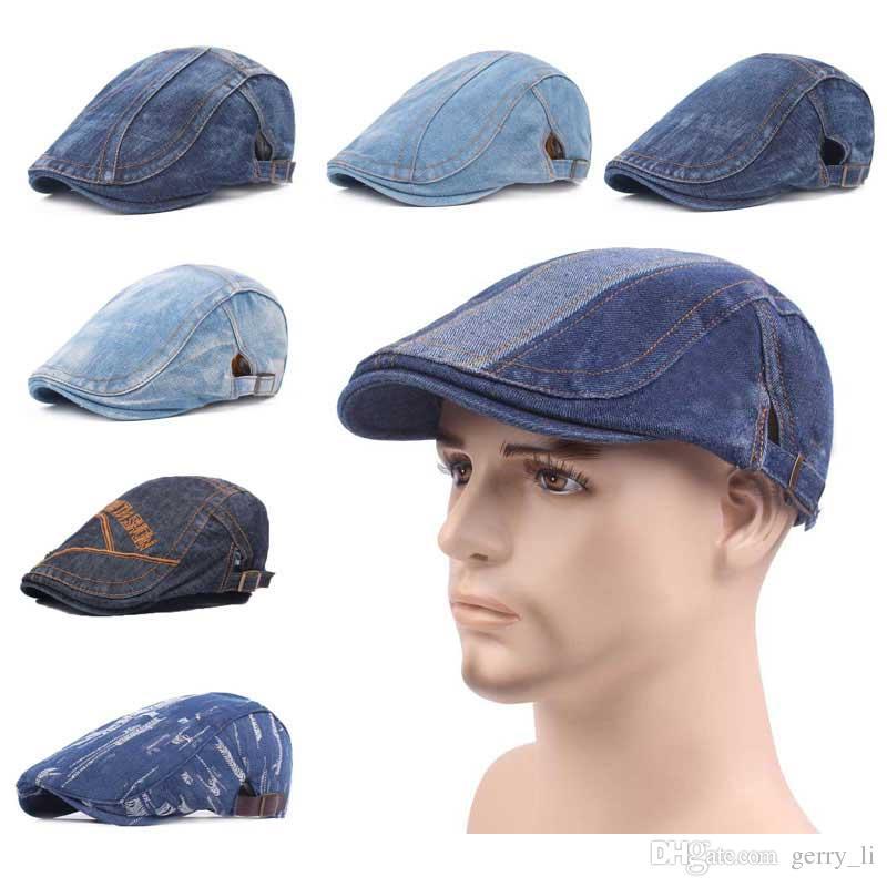 0a9a57ddf87d2 2019 Men Hats Patch Design Denim Beret Cap Fashion Hat Women Cotton Hats  Chapeau Adjustable Hat Around Fashion Caps From Gerry li