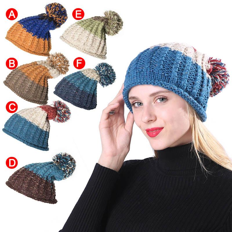 f37bbbcb605a2 Women Girls Winter Warm Pom Poms Beanies Cap Thick Knitted Outdoor Hat New Cap  Shop Knitted Hat From Navyjewelry