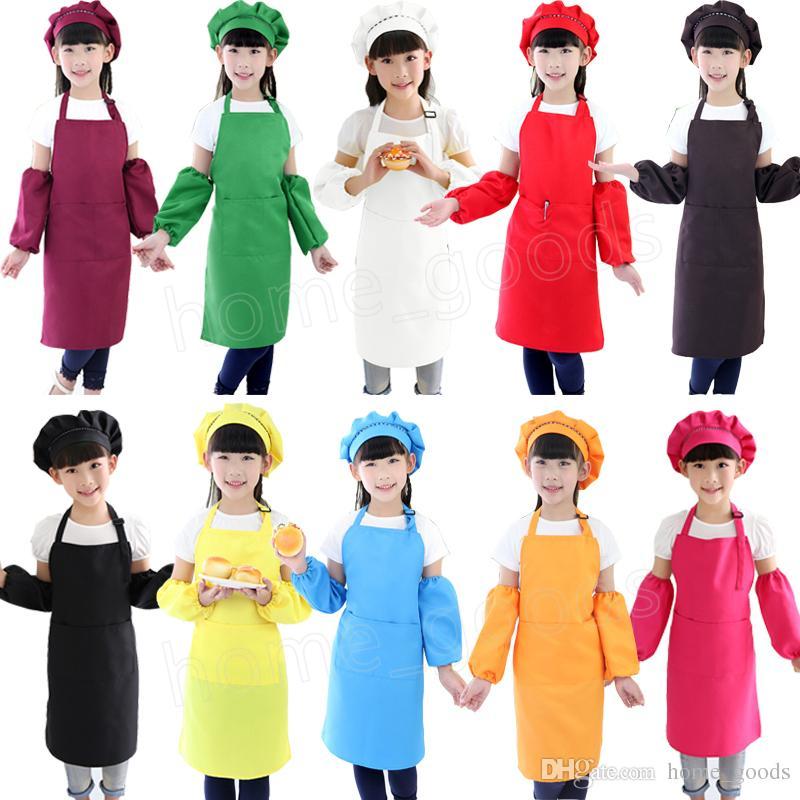 Acquista 3 Pz   Set Bambini Grembiule Vita Con Manica Cappello Da Cuoco  Asilo Cucina Cottura Pittura Cucinare Cibo Grembiuli Boy Girl Di Alta  Qualità A ... d9838400ff8d