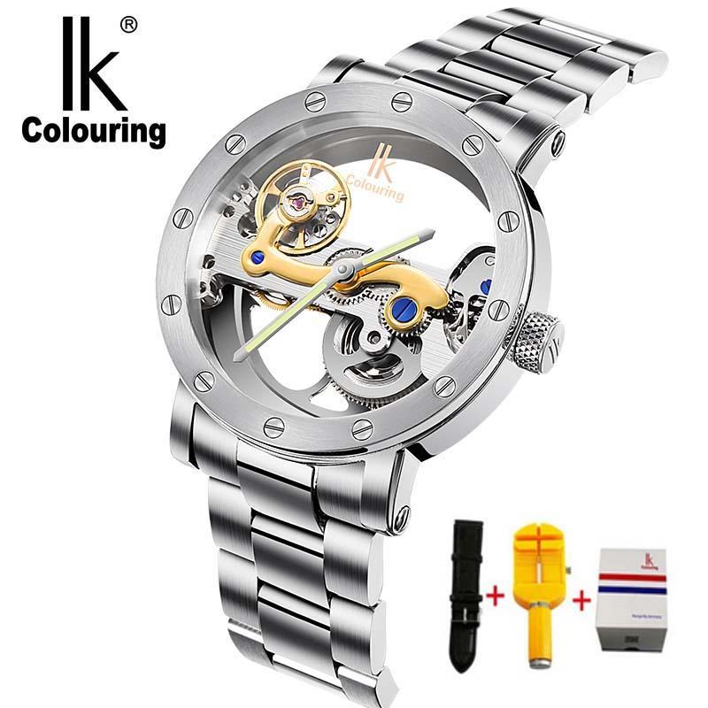 d93ef1bd1db Compre IK Coloração Esqueleto Oco Relógios Mecânicos Homens Marca De Luxo  5ATM À Prova D  Água De Aço Inoxidável Relógio De Pulso Relogio Masculino  De ...