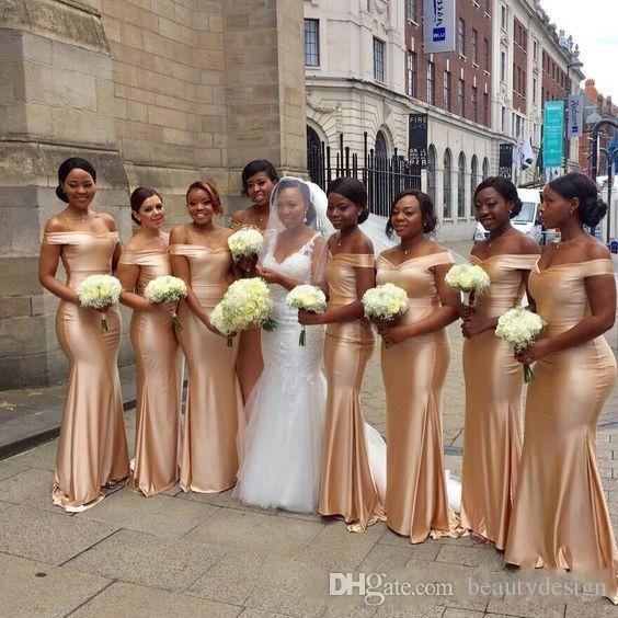 African Off The Shoulder Mermaid Bridesmaids Dresses 2018 New Gold Floor Length Sleeveless Sexy Black Girl Wedding Guest Prom Dress