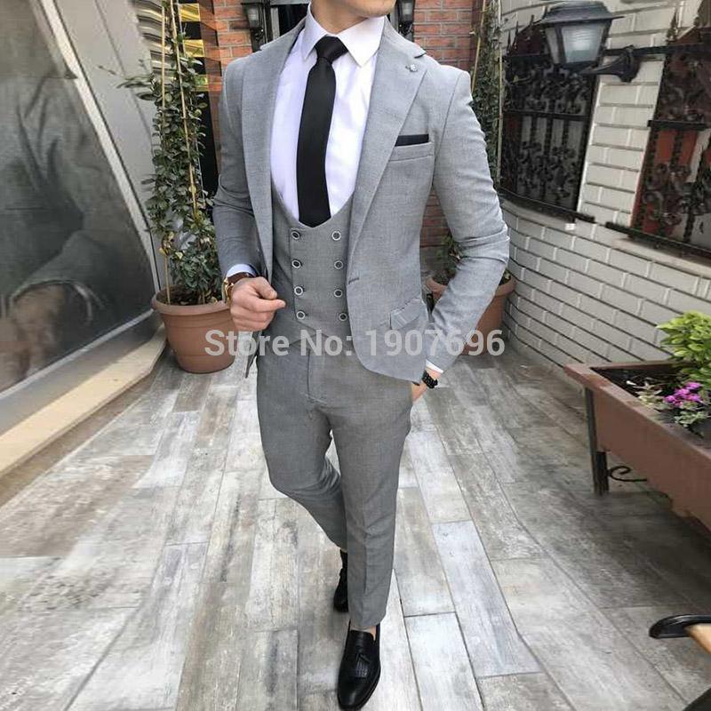 ff8a5f4935 Abiti da uomo grigi per smoking smoking tre pezzi giacca gilet in maglia da  sera per uomo vestito da uomo realizzato su misura