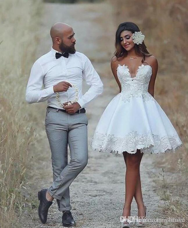 Discount Short Wedding Dress Knee Length Applique Informal Wedding