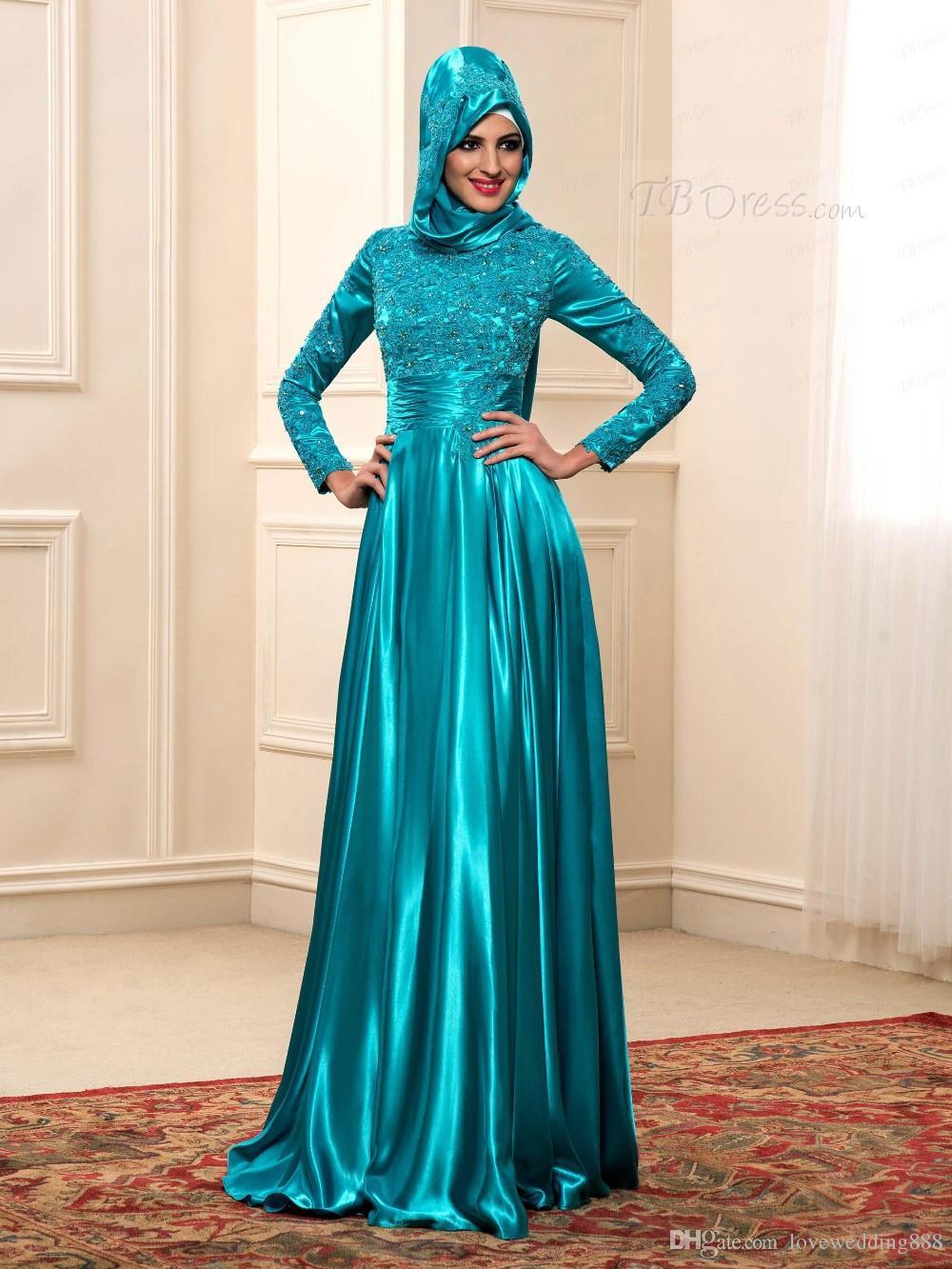 Elegant High Neck Long Sleeves Teal Muslim Evening Dresses With ...