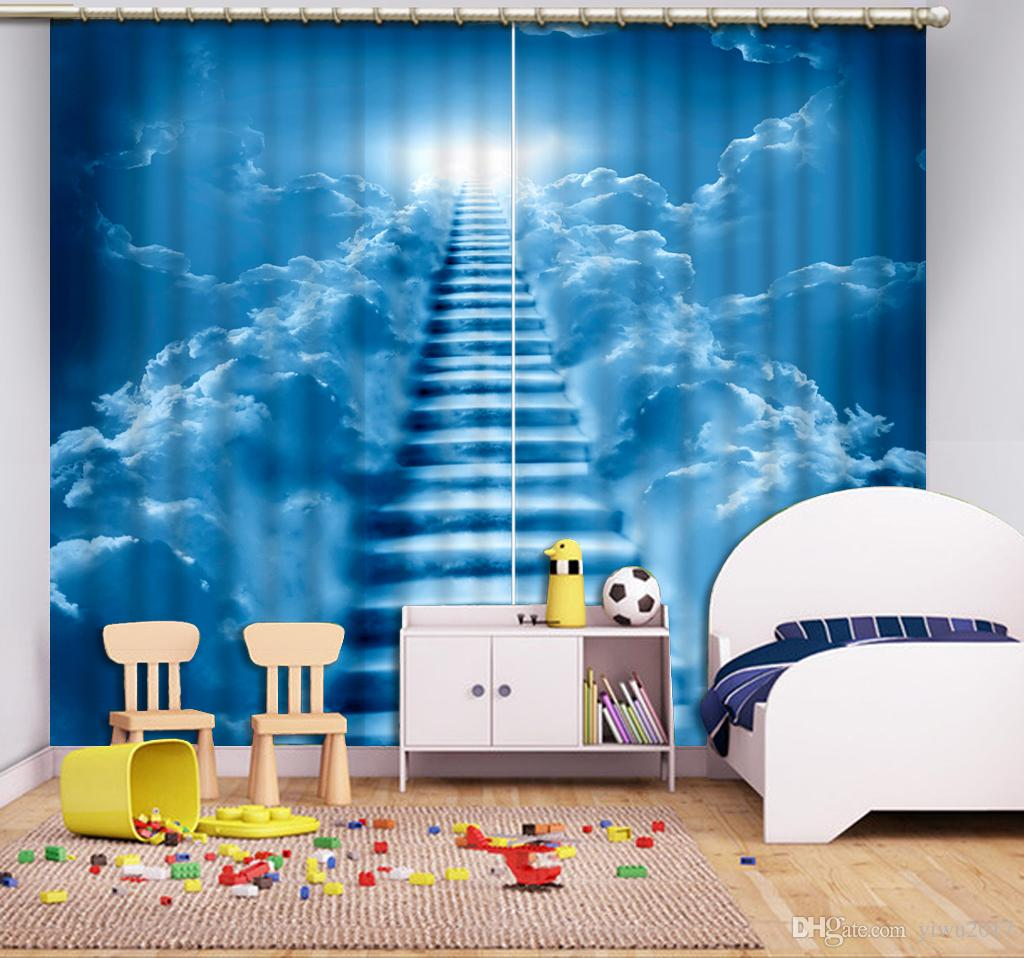 Modern home decor Sheer Window Curtains sky Photo Prited 3D Blackout Curtain For Living room High quality Polyester Curtains