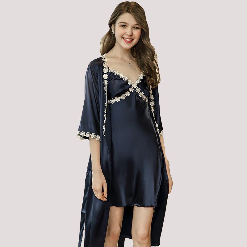9827b89366 2019 New Elegant Women S Robe Sets Mini Nightwear Indoor Sleepwear Silk Feel  Bath Robe And Night Gown Set Vestidos WP691 From Guocloth