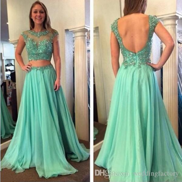 Sexy Backless Prom Dress Sheer Neck Capped Sleeves Beaded Lace Appliques Cut Out Waist Evening Gowns Formal Dresses Custom Made