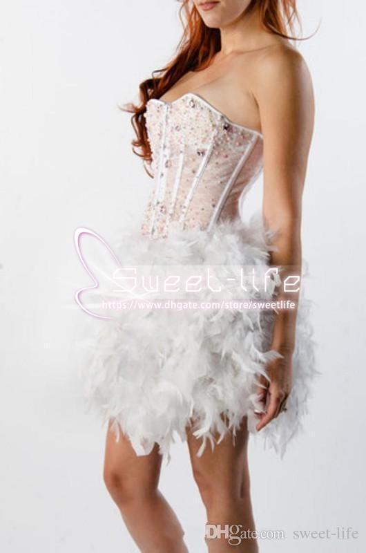 New Vogue 2019 Sweetheart Beaded Pearls Crystal Cocktail Dresses Feather Skirt Ladies Prom Gowns Celebrity Wear Formal Short Mini dresses