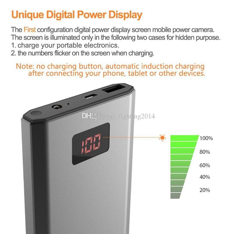 Portable 10000mAh Power Bank Camera 1080P HD Night Vision Mobile Power Supply Security Camera Motion Detection Mini DV DVR