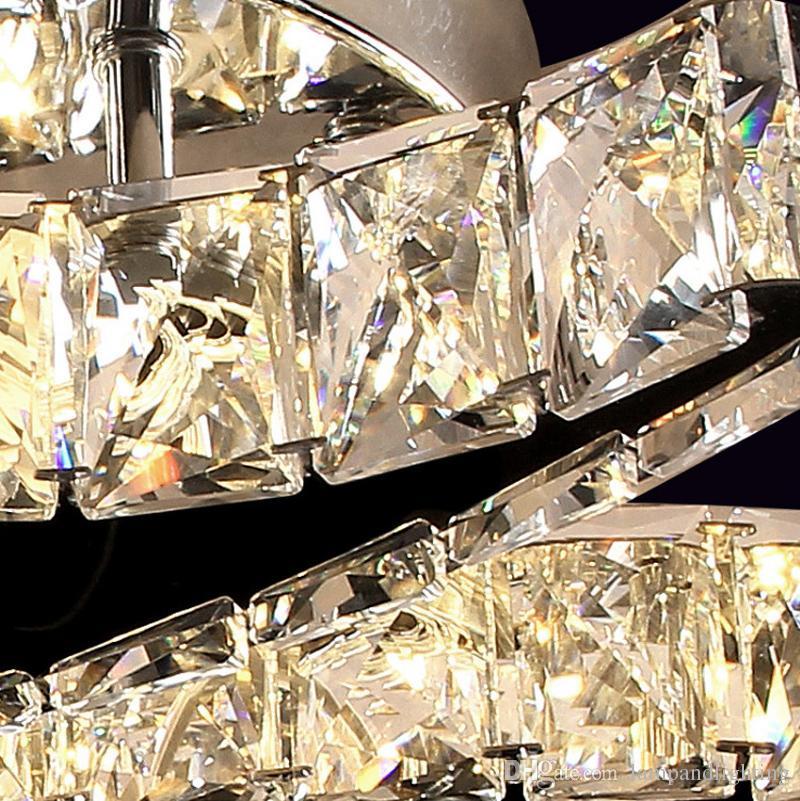 Modern yüksek kalite paslanmaz çelik 36 W LED kristal tavan lambası yemek odası için plafonnier lüks gömme montaj tavan ışıkları