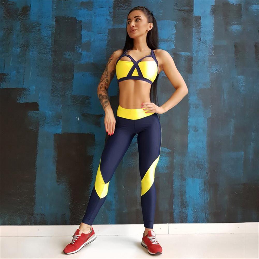 0db516de7cf0 Fitness Running Set Women Sportswear Gym Clothing Yoga Set Patchwork ...