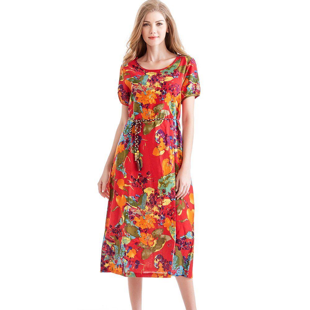 Hot Sale Fashion Lady Long Dress Plus Size Loose Women Dress Vintage