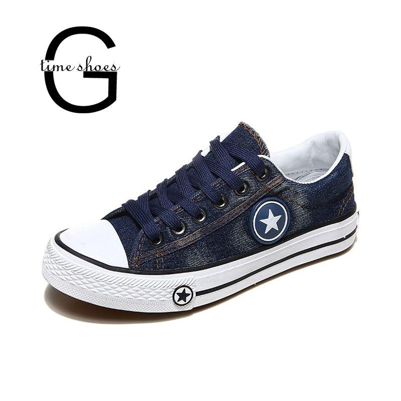 a9aa1ae2 Compre Venta Al Por Mayor Zapatillas De Deporte De Mujer Denim Zapatos  Casuales Zapatillas De Lona Mujer Zapatillas Con Cordones Basket Femme  Stars Tenis ...