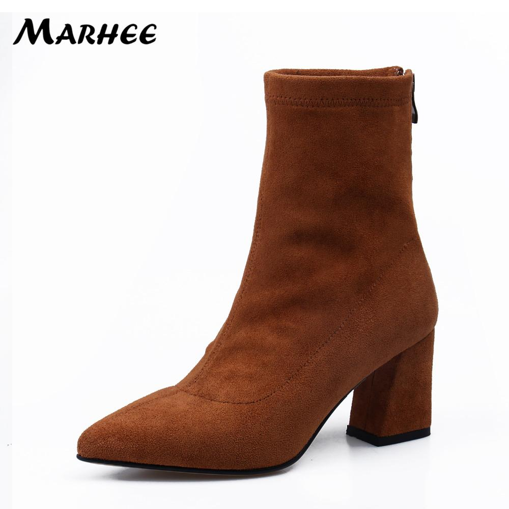569c5dd5d78 MARHEE Brand Autumn Flock Black Brown Ankle Boots High Heels Women S Short  Booties 7.5 CM Block Heels Shoes Mens Leather Boots Grey Boots From Delina