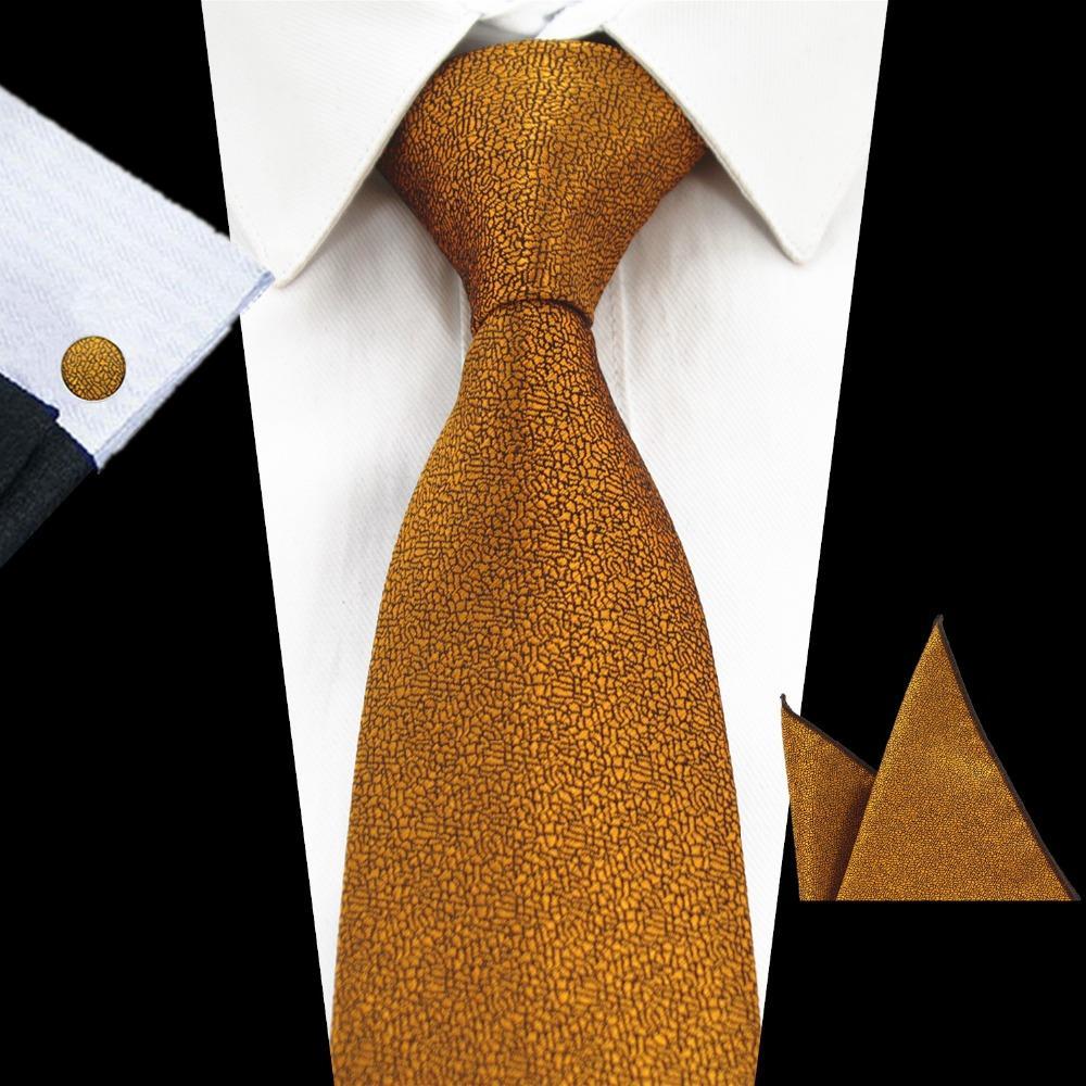 43881ce6 RBOCOTT New Fashion Plain Tie Men's 8cm Silk Necktie Set Blue Green Purple  Yellow Gray Red Wedding Solid Tie Hanky Cufflinks Set