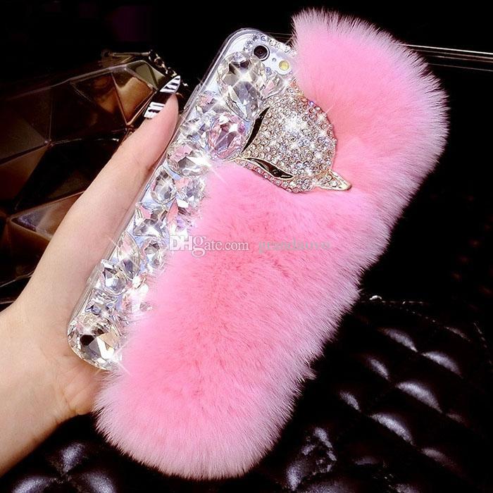Luxury Rabbit Hair Fur Fox Head Soft Bling Diamond Women Girl Lady Case Cover For iPhone XS Max XR X 8 7 6 Plus Samsung Galaxy Note 9 S9 S8