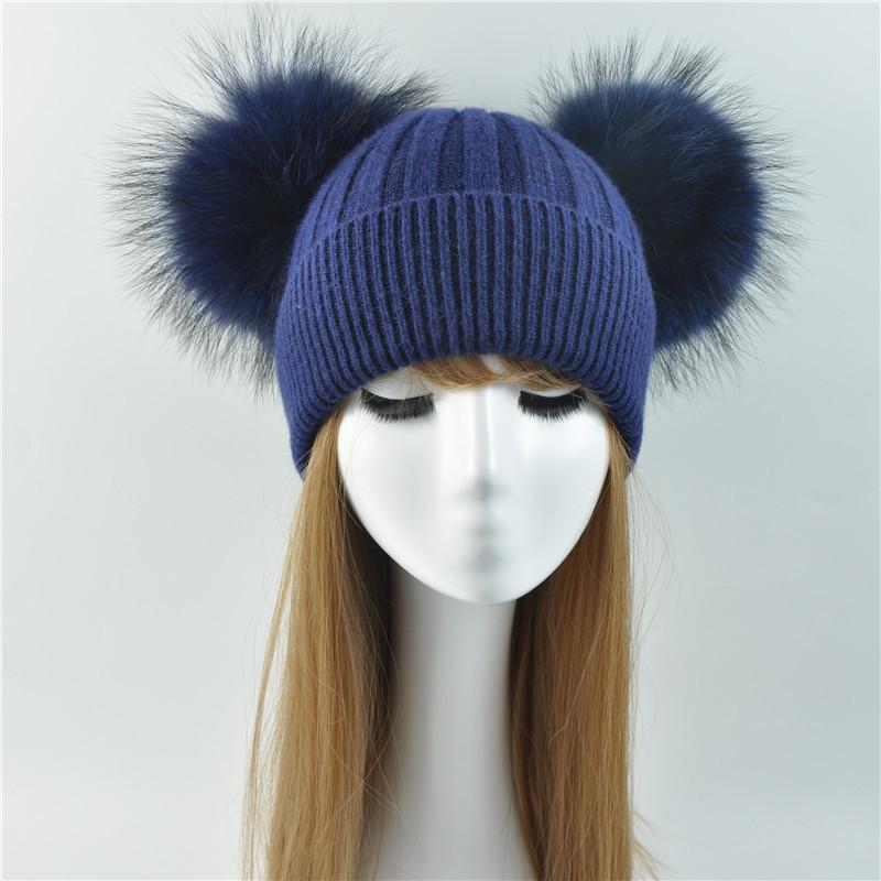 Double Real Raccoon Fur Pompom Hat Women Winter Caps Knitted Wool Hats  Skullies Beanies Girls Female Two Fur Pom Pom Beanie Hat D18103006 Cap Hat  Cute ... 110443c6ec8