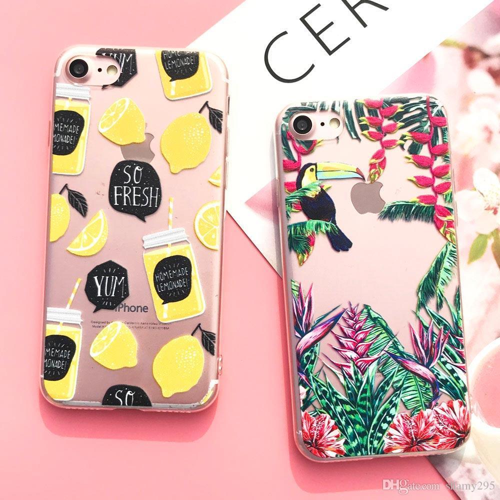 iPhone Silicone Case 7 7plus 6 6S 6Plus 5 Caso 5S SE TPU copertura del fiore Foglie Bird iPhone 6S 8plus X trasporto libero 2018 nuovo caldo