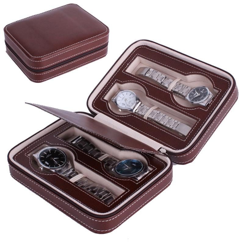 2 Colors Zippered Sport Storage Watch 4 Case Organizer Leather Watch Travel Case For Four Watches Beige Beads Veet