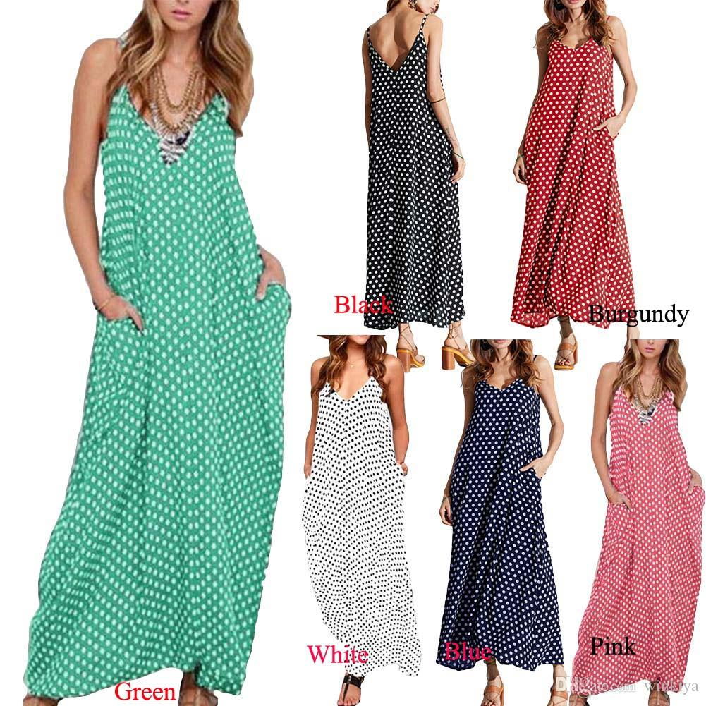 5XL Plus Size Summer Dress 2017 Women Polka Dot Print V Neck Sleeveless  Sundress Loose Maxi Long Beach Bohemian Vintage Dress Dress Maxi Dresses  From ... e43d74755ae5