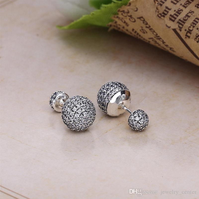 حقيقي 925 فضة الطبيعية كريستال الكرة أقراط صالح باندورا نمط فضة مجوهرات للنساء الماس ديسكو الخرز مربط القرط