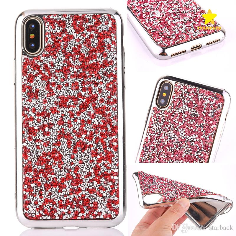 buy online 5f8af 1e32e For iPhone 8 Plus iPhone X Case Diamond Crystal Luxury Glitter Bling Soft  TPU Phone Cover Case for Samsung S8 Plus Note 8