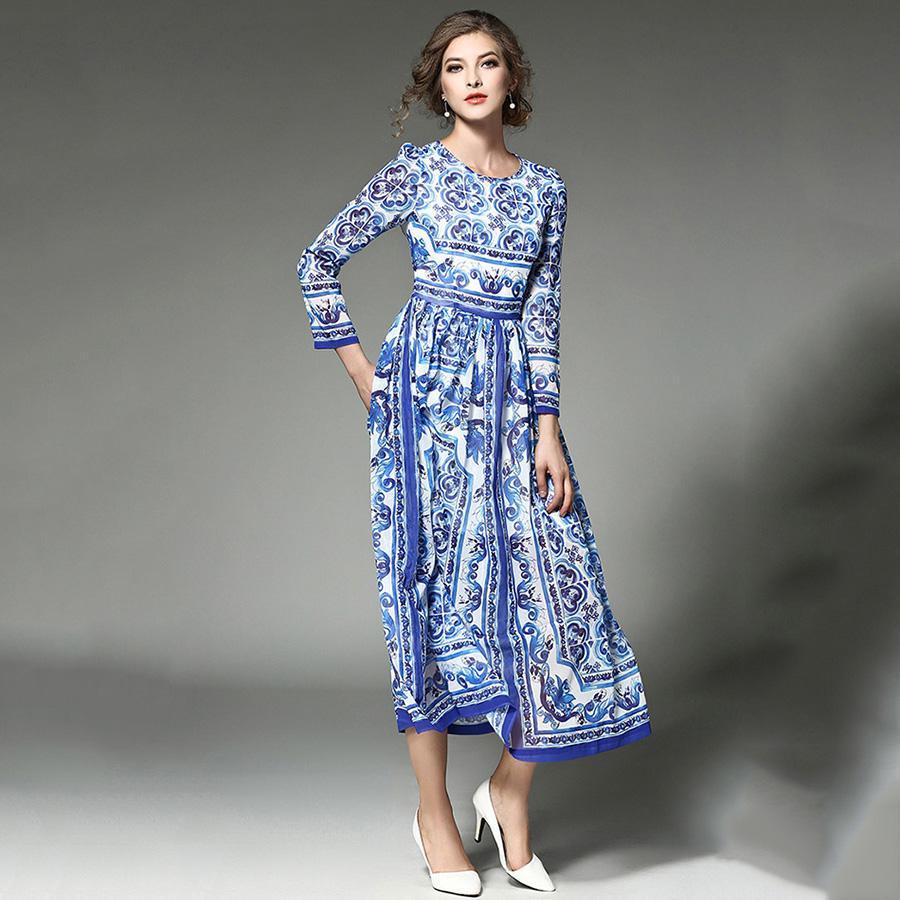 여자 긴 맥시 드레스 2017 새로운 여름 패션 빈티지 활주로 드레스 전체 슬리브 휴일 해변 파티 드레스 Vestidos