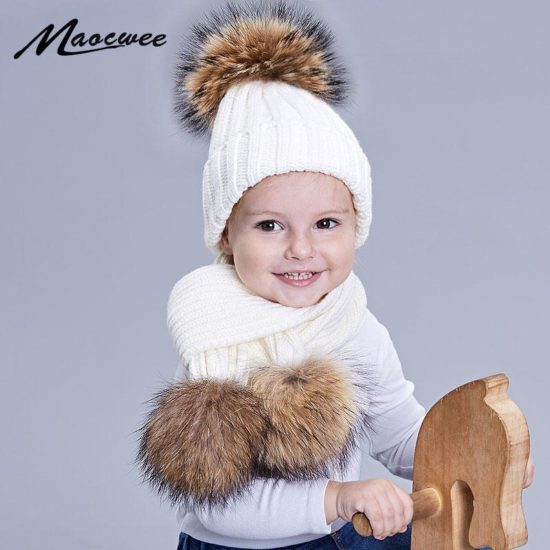2019 Girl Boy Pom Pom Beanie Hat Cap Warm Knitted Bobble Nature Fur Pompom  Hat Scarf Sets Kids Baby Children Winter Hats Bones From Miaoshakuai 1e7199aba3f