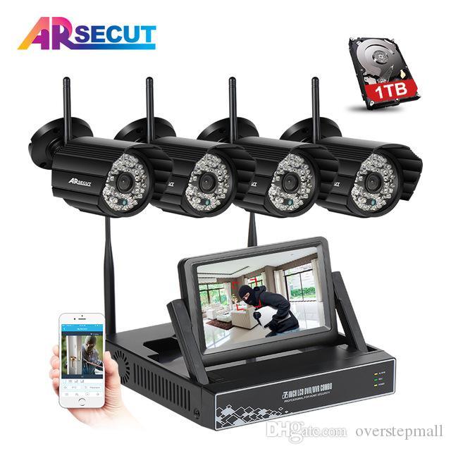 Arsecut 960P HD 48IR Outdoor Night Vison Waterproof Wireless Security  Cameras Plug And Play 4CH Video Surveillance KitMobile APP
