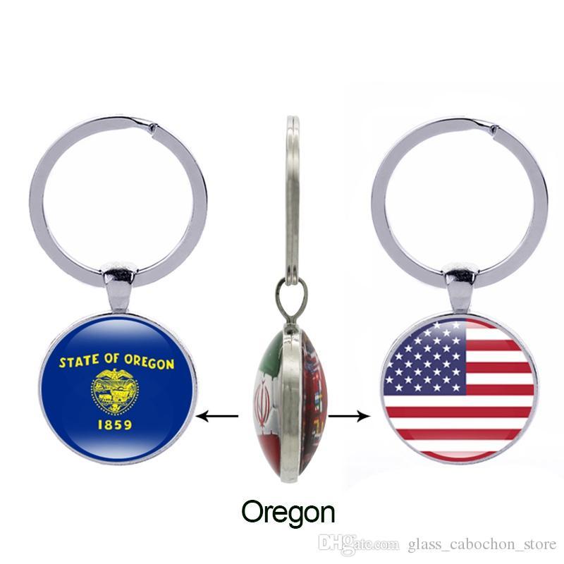 Bandera del estado de Texas Llavero Ohio Oklahoma Oregon Virginia Estados Unidos 50 Estados Vidrio Doble lado Keyring Mujeres Hombres Regalos Joyería al por mayor